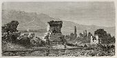 Old illustration of ruins of  Sardis, the capital of the ancient kingdom of Lydia. Turkey. Created b