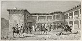 Old illustration of local governor residence in Harmancik, Turkey. Created by Gaiaud, published on L