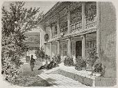Old illustration of British Legation Verandah in Beijing. Created by Therond, published on Le Tour d