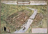 Frankfurt old map, from Civitates Orbis Terrarum. Created by Georg Braun and Frans Hogenberg. Publis