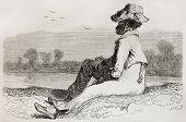 Old illustration of man watching landscape. Created by Riou, published on Le Tour du Monde, Paris, 1864