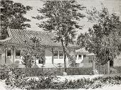 Old illustration of French legation in Beijing, secretary's residence. Created by Therond, published