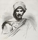 Old engraved portrait of a Bedouin. Created by Pottin after sketch of Bida, published on Le Tour du Monde, Paris, 1864