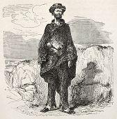 Old illustration of a sloppy man. Created by Riou, published on Le Tour du Monde, Paris, 1864