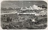 Old illustration of battle between British army and insurgents near Delhi walls during Indian rebell