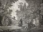 Old illustration of rural dance. Created by Dumont,  published on L'Illustration Journal Universel, Paris, 1857