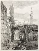 Old illustration of an house build with funeral monuments rubbles in Usak, Aegean region, Turkey. Cr