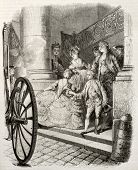 Old illustration of aristocratic young couple boarding a carriage. Created by Moreau, published on M