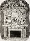 Antique illustration of an old fireplace in Cadillac castle, in the Gironde department, France. Crea