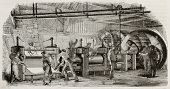 Old illustration of iron production in La Houilles foundry, France: rolling mills line moved by hydraulic wheel. By unidentified author, published on Magasin Pittoresque, Paris, 1850