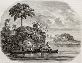 Old illustration of canoe along Usumacinta river, in Central America. Created by Delvaud and Piaut a
