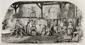 Old illustration of iron production: foundry in La Houilles, France. By unidentified author, publish