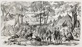 Old illustration of a Methodist meeting near New York. Created by Provost, published on L'Illustrati