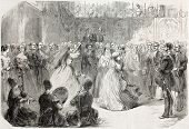 Old illustration of Lezginka dance in Tbilisi. Created by Godefroy-Durand after Blanchard, published on L'Illustration Journal Universel, Paris, 1857
