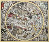 Old representation of Christian celestial hemisphere. From Atlas Coelestis, created by Andreas Cella