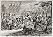 Old illustration of battle of Sempach, Switzerland, 1386. Created by Pauquet after antique print by unidentified author. Published on Magasin Pittoresque, Paris, 1850