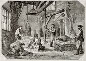 Old illustration of carburizing workshop in antique needle factory. By unidentified author, publishe