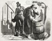 Old illustration of rag merchant in New York. Created by Job, published on L'Illustration Journal Un