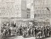 Old illustration of election  in Brussels: crowd in the city hall square. Created by Gaildrau, publi