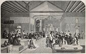 Old illustration of greek monks in dining hall. Created by Godefroy-Durand after drawing of Bida,  published on L'Illustration Journal Universel, Paris, 1857