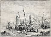 Old illustration of fishing boats back to shore. Created by Noel, published on L'Illustration, Journal Universel, Paris, 1857
