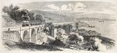 Old illustration of Barcola viaduct along the railway between Vienna and Trieste. Created by Freeman