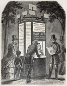 Old illustration of a newspaper kiosk. Created by Gaildrau, published on L'Illustration, Journal Universel, Paris, 1857