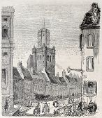 Old view of Boulogne Beffroi. Created by Sauvageot, published on L'Illustration, Journal Universel,