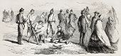 Old illustration of soldiers cooking in bivouac. Created by Quesnoy, published on L'Illustration, Journal Universel, Paris, 1857