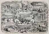 Old illustration celebrating Naturalist and Medical Congress in Bonn, September 1857. Created by Fichensker, published on L'Illustration, Journal Universel, Paris, 1857