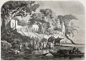 Old illustration of traditional Ganges ablutions in India. Created by Anastasi after sketch of De Be