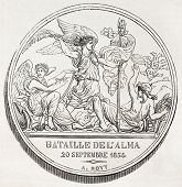 Old illustration of a commemorative medal of the battle of Alma, the first battle of Crimean war. Created by Bovy, published on L'Illustration, Journal Universel, Paris, 1857
