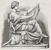 Old illustration of an Etruscan subject sculpted. Created by Simyan, published on L'Illustration, Jo