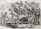 stock photo of camel-cart  - Old illustration of Grand Mughal palace courtyard in Delhi - JPG