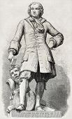 Old illustration of Pierre Pujet statue. French painter, sculptor and architect. Sculpted by Ramus,