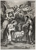 Old illustration of the holy Nativity. Engraved by Jourdain after painting of Rubens,  published on