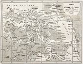 Old map of Arctic region of Sir John Franklin Northwest Passage exploration. Created by Erhard and B