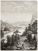 Old illustration of Amur river. Created by Grandsire and Gauchard after sketch of Raddle, published
