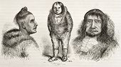 Old illustration of Eskimo types. Created by Valentine after Kane, published on Le Tour du Monde, Paris, 1860