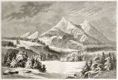 Old view of San Francisco Peaks, Arizona. Created by Lancelot after report made under the direction