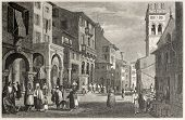 Old view of Strada Reale in Corfu, Greek island. Created by Prout and Finden, published on Il Mediterraneo Illustrato, Spirito Battelli ed., Florence, Italy, 1841