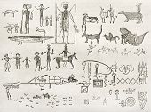 Hieroglyphics found in a cave near Fossil Creek, Arizona. By Lancelot and Gauchard after report made
