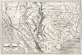 Old map of northern Mexico and south-western USA. Created by Erhard and Bonaparte, published on Le T
