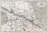 Old Caucasus map. Created by Villemin, Erhard and Bonaparte, published on Le Tour du Monde, Paris, 1860