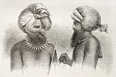 Fijians men old illustration. Viti Levu islands dwellers. Created by Fath after Calvert, published o