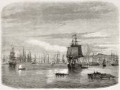 New Orleans port, old view. Created by De Berard after photo of unknown author, published on le Tour