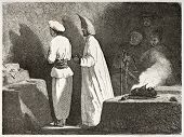 Guebre ceremony in Ateshgah temple in Baku, Georgia. Created by Moynet, published on Le Tour du Monde, Paris, 1860