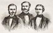 Schlagintweit Brüder alten gravierte Porträts. erstellt von Valentin, veröffentlicht am le Tour du Monde, p