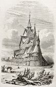 Heddal stave church old illustration, Telmark, Norway. Created by Wormser, published on Le Tour du Monde, Paris, 1860