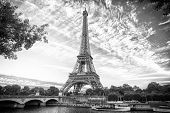 From Paris With Love. Eiffel Tower At Sunset In Paris, France. Romantic Travel Background. Eifell To poster